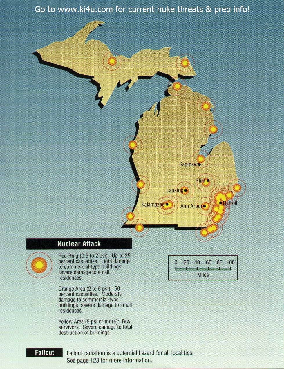 nuclear weapon target map for michigan fema 196 september 1990 michigan targets