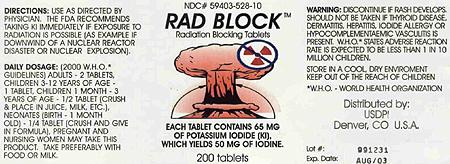 Potassium iodine (KI) tablets