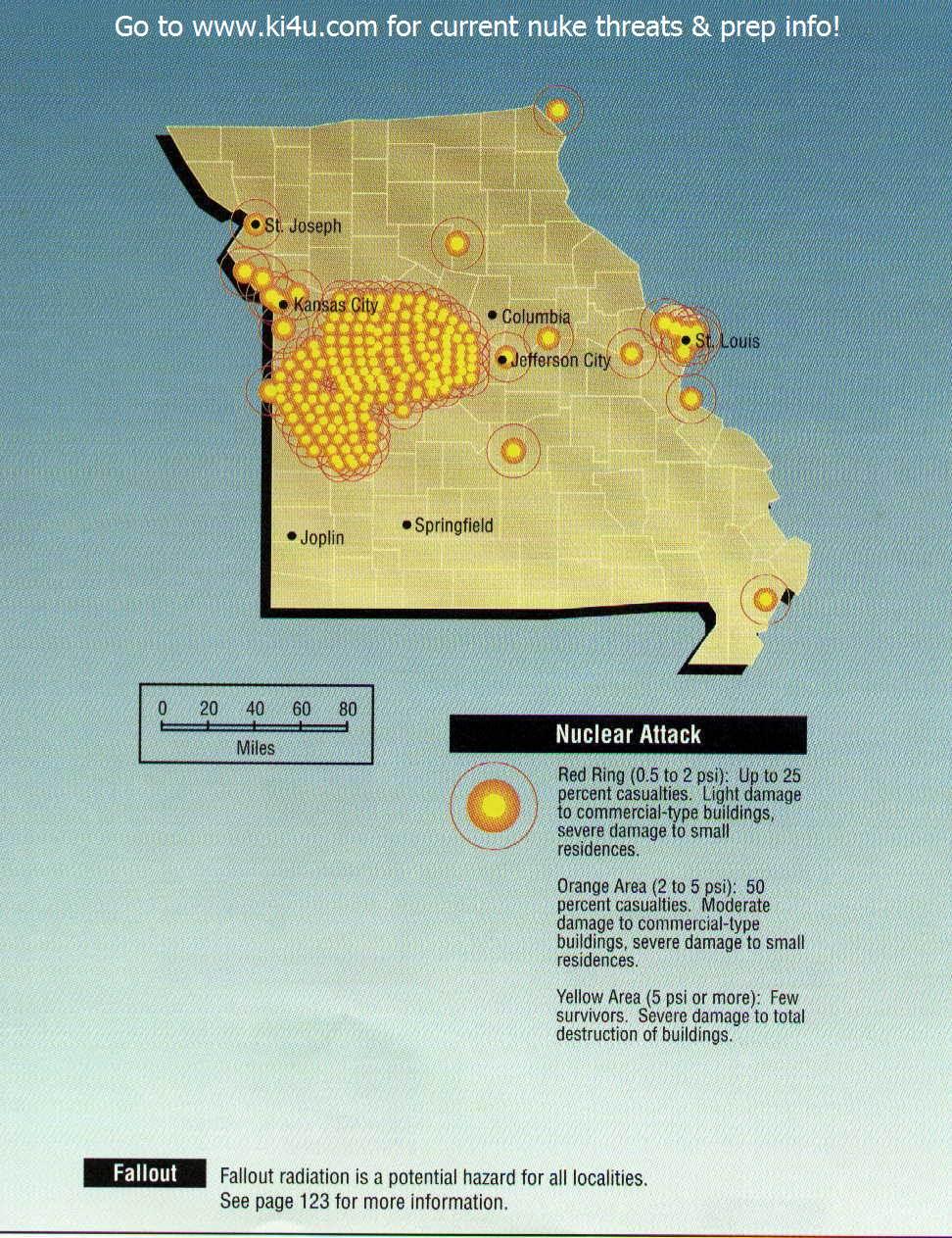Nuclear Weapon Target Map For Missouri Fema 196 September 1990 Missouri Targets